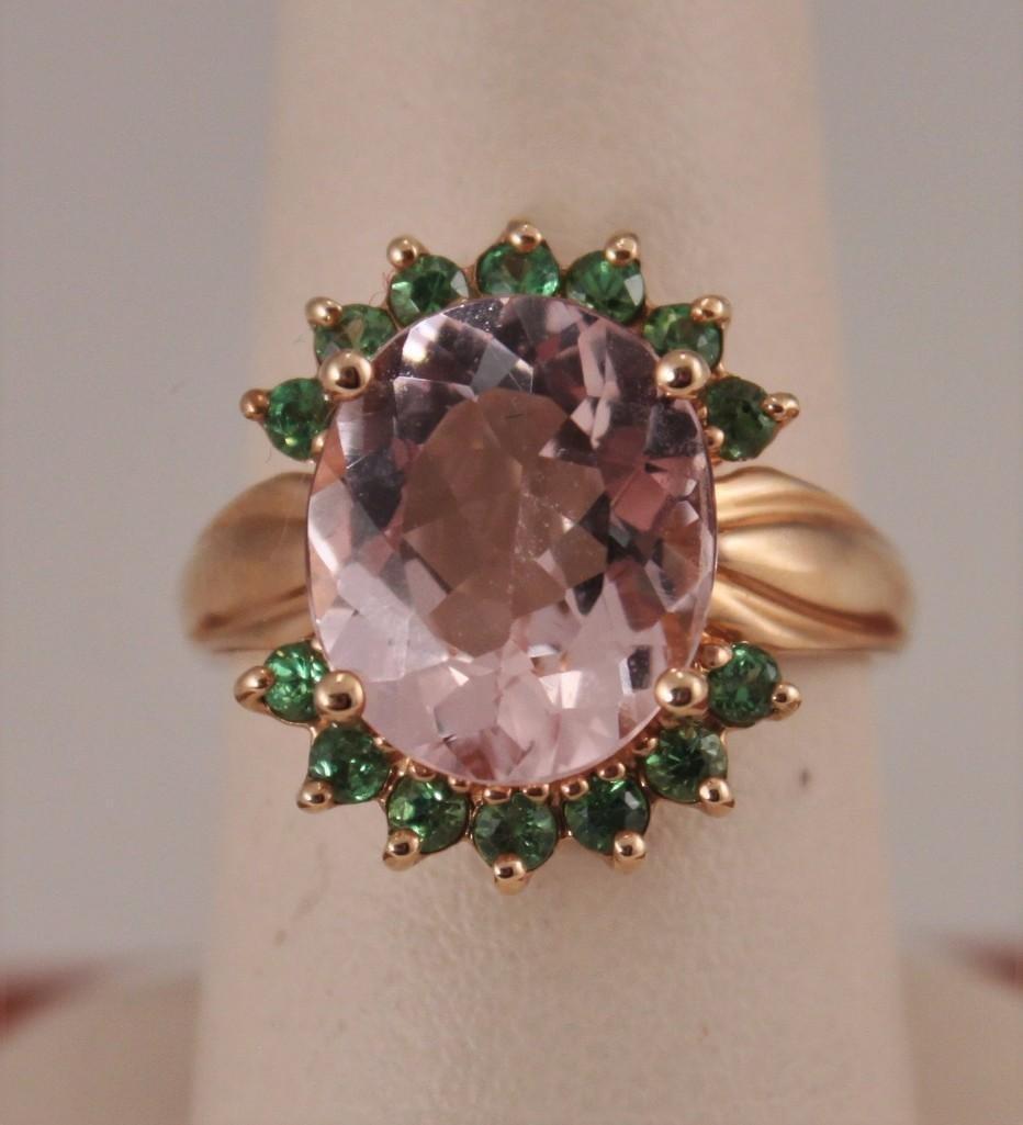 14KT YG, Morganite & Tsavorite Gemstone Ring