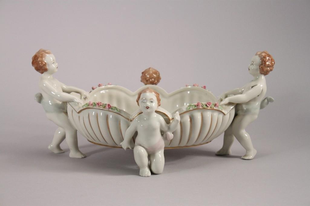 Dresden Porcelain Footed Bowl