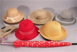 Ladies Vintage Hats and Umbrella
