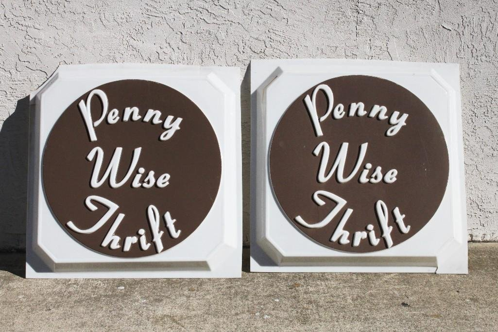 Vintage Penny Wise Thrift Signs (2)