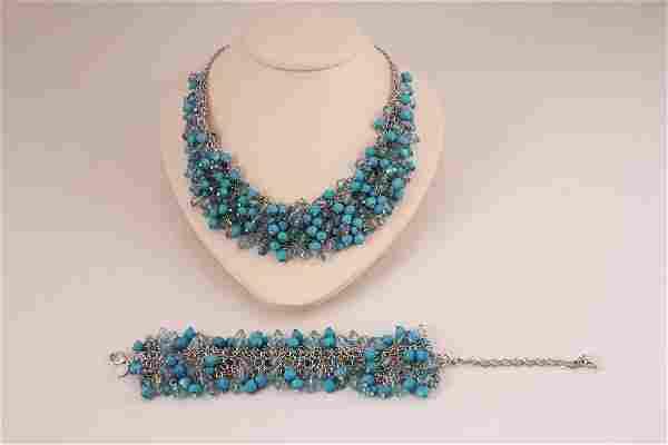 Beaded Bracelet and Necklace Set (2)