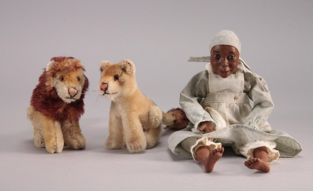 Black Americana Doll & Steiff-Like Animals (3)