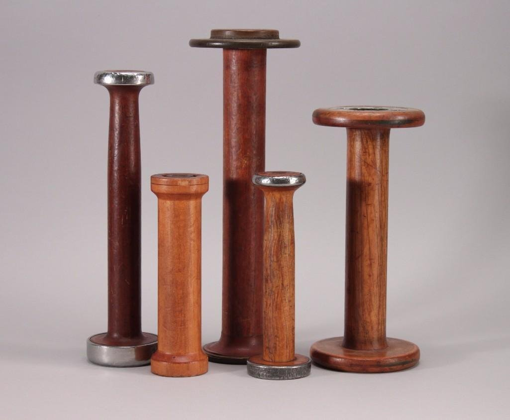 Vintage Wooden Industrial Thread Spools (5)