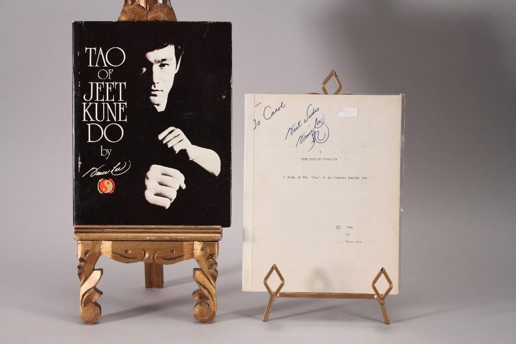 Bruce Lee Signed Manuscript & Book (2)