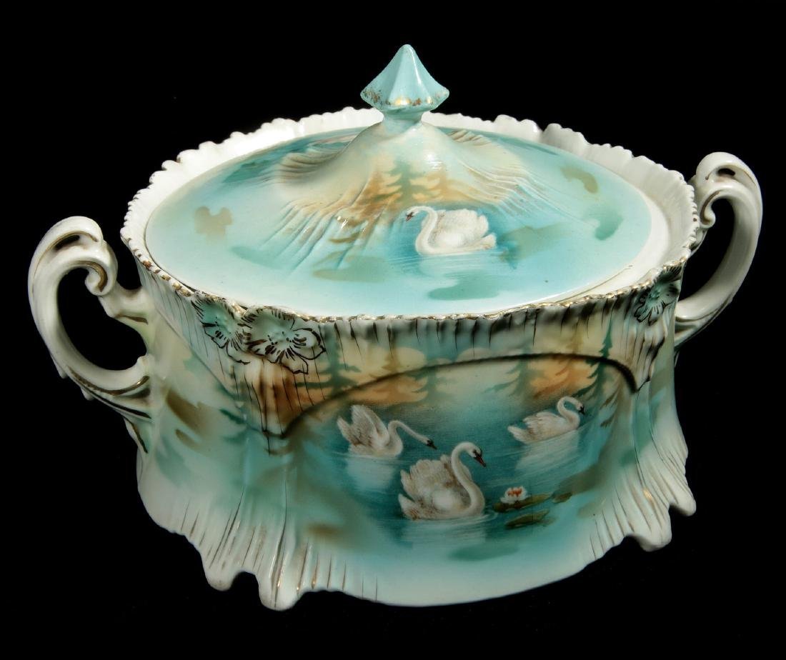AN RS PRUSSIA FOUR SWANS ICICLE MOLD BISCUIT JAR