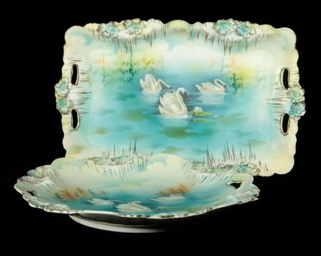 TWO RS PRUSSIA 'FOUR SWANS' PATTERN TRAYS