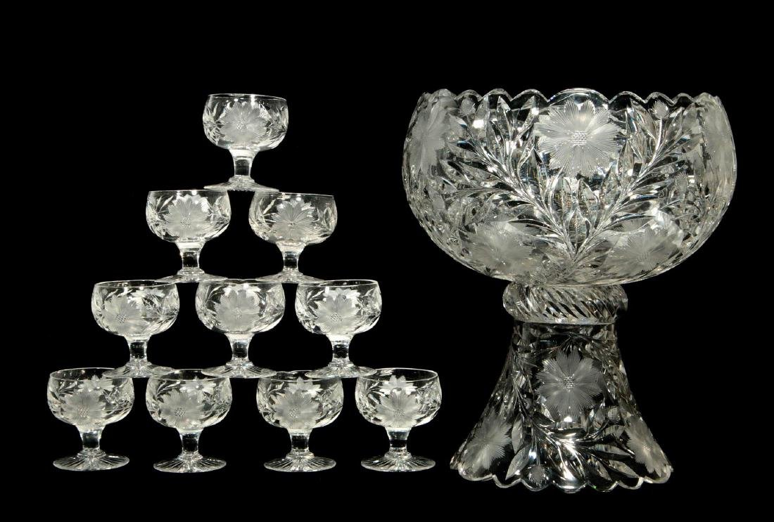 AN ABP FLORAL PERIOD PUNCH BOWL WITH FOOTED CUPS
