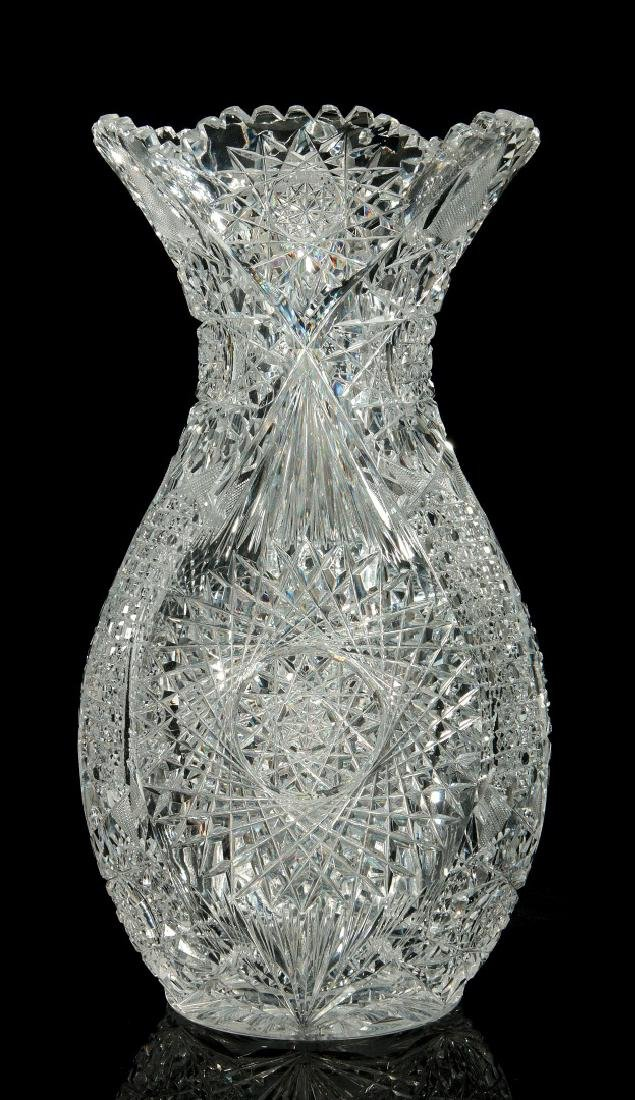 A LARGE AND FINELY ABP CUT GLASS BOWLING PIN VASE
