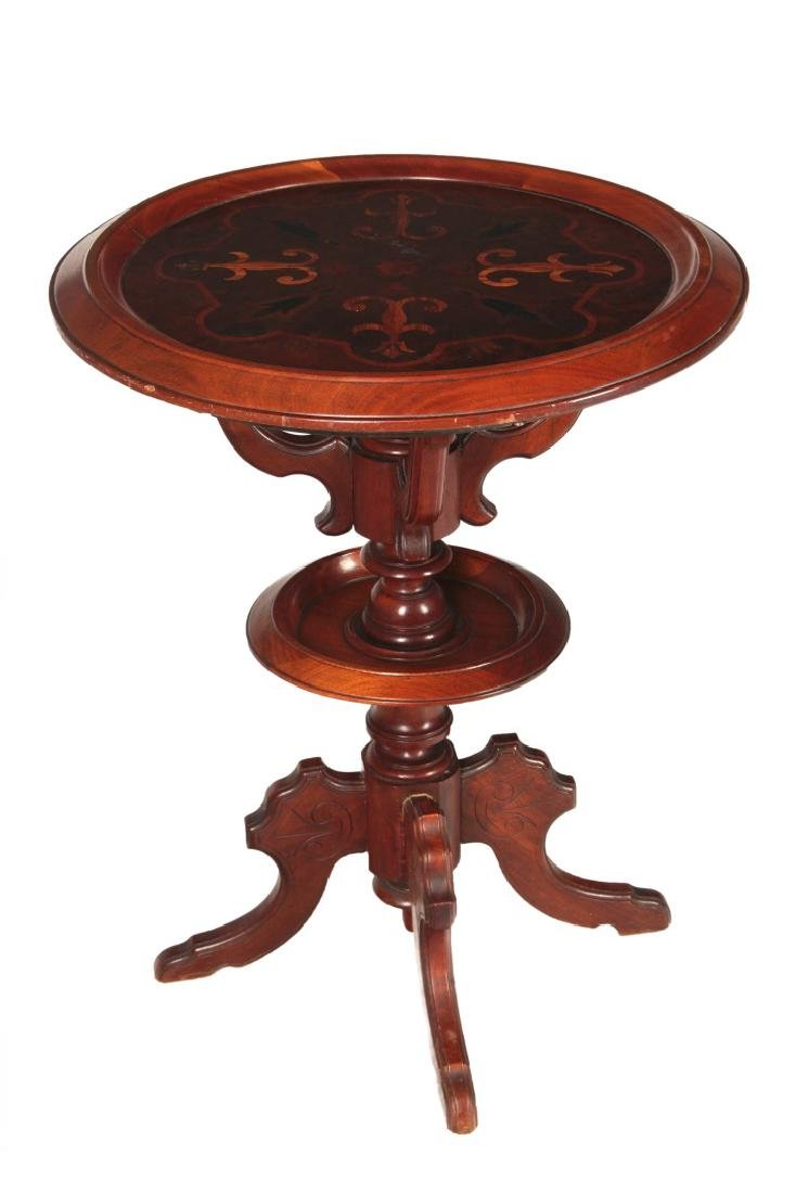 A 19TH C. AMERICAN DISH TOP STAND WITH MARQUETRY