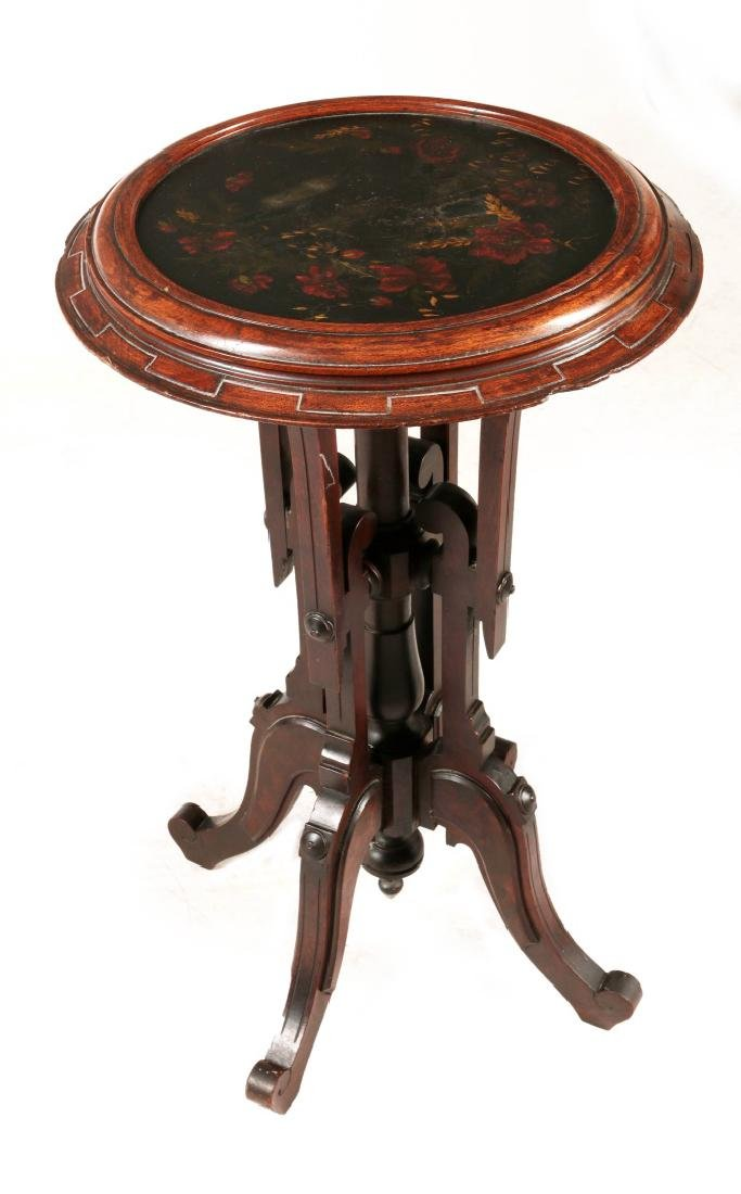 A VICTORIAN DISH TOP STAND WITH PAINTED INSET