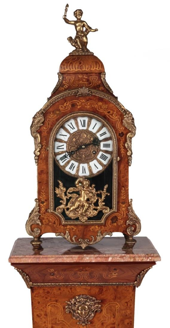 A 20THC. LOUIS XV STYLE MARQUETRY CLOCK & PEDESTAL