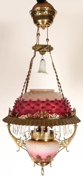 RARE 19TH C. HALF CRANBERRY OPALESCENT SHADE LAMP