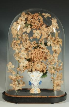 A VICTORIAN BRIDE'S DOME WITH CLOTH AND WAX FLORAL
