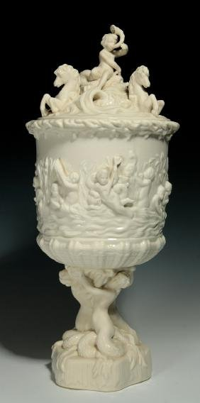 AN IRISH BELLEEK PRINCE OF WALES COVERED ICE PAIL