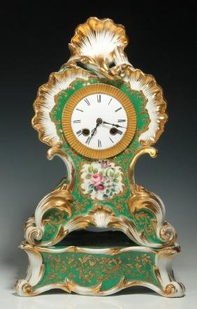 A PONS OF PARIS FRENCH PORCELAIN CLOCK ON STAND