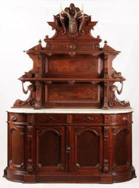 A 19THC. AMERICAN SIDEBOARD WITH BLACK FOREST DEER