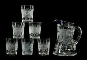 ABP CUT GLASS PITCHER AND SIX TUMBLERS SIGNED LIBBEY