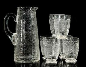 STEVENS AND WILLIAMS ROCK CRYSTAL PITCHER/TUMBLERS