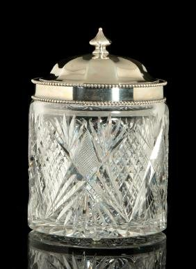 AN AMERICAN BRILLIANT PERIOD CUT GLASS HUMIDOR
