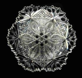 EXTRA FINE CUT GLASS BOWL SIGNED LIBBEY