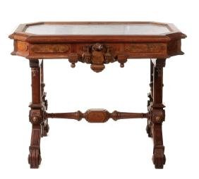 19THC AMERICAN PARLOR TABLE WITH PICTURE FRAME TOP