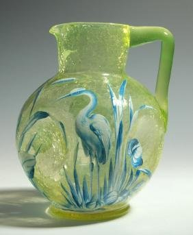 A VASELINE CRACKLE GLASS PITCHER ATTRIBUTED MOSER