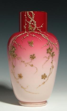 A VICTORIAN ART GLASS PEACHBLOW VASE ATTR TO WEBB