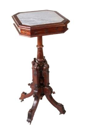 A 19C AMERICAN RENAISSANCE REVIVAL STAND W/ MARBLE