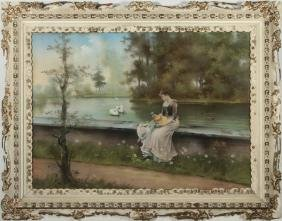 C. 1900 PASTEL PAINTING ATTRIBUTED TO EMMA AULICH