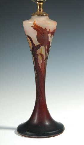 A GALLE CAMEO GLASS LAMP BASE WITH DAMAGE
