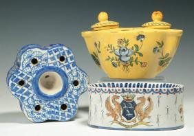 THREE ANTIQUE FRENCH FAIENCE INKWELLS