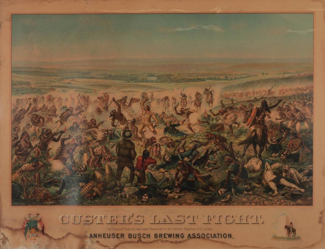CUSTER'S LAST FIGHT- ORIGINAL ANHEUSER BUSGH FRAME