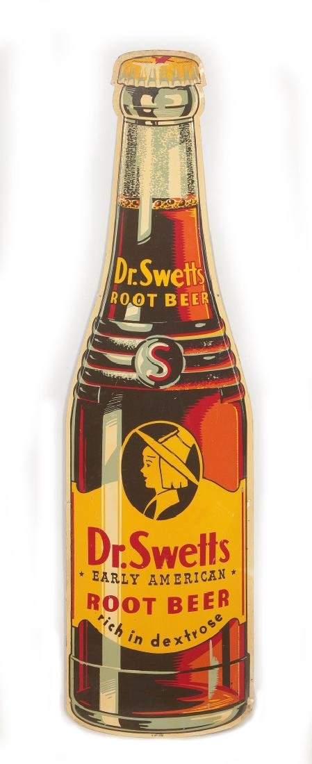 A GOOD DR. SWETTS ROOT BEER DIE CUT BOTTLE SIGN