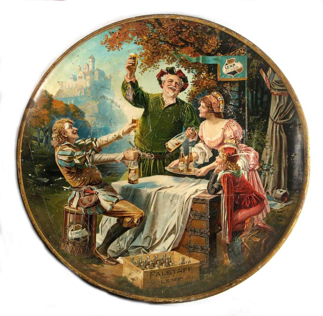 A LARGE ORIGINAL LEMP FALSTAFF TIN LITHO CHARGER