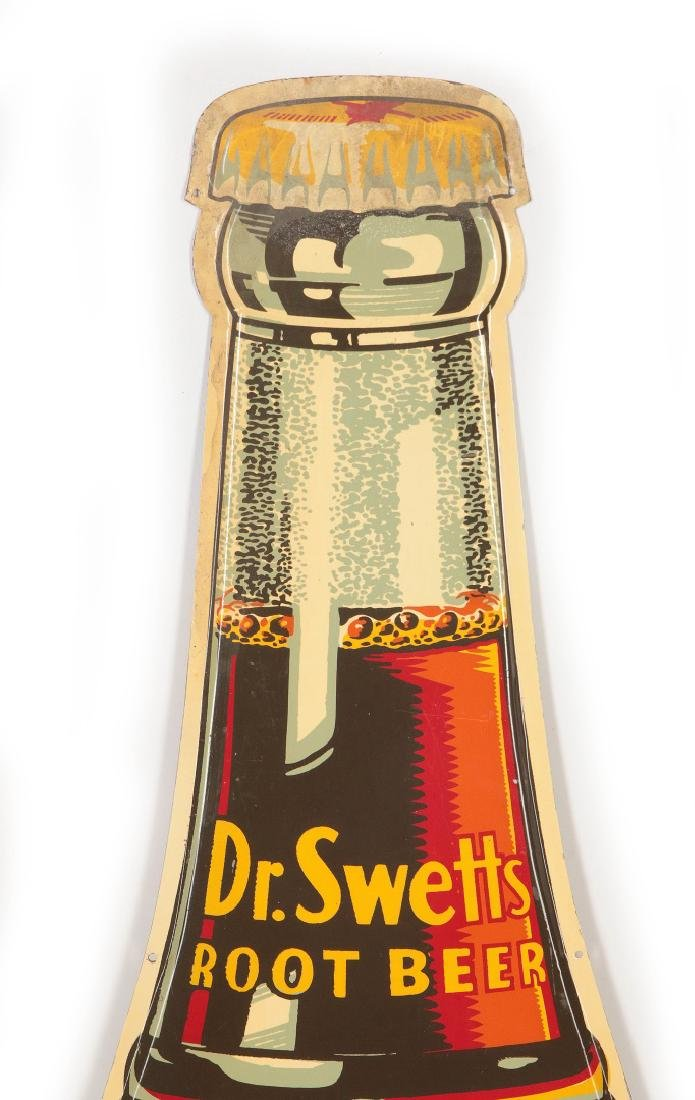 A GOOD DR. SWETTS ROOT BEER DIE CUT BOTTLE SIGN - 2