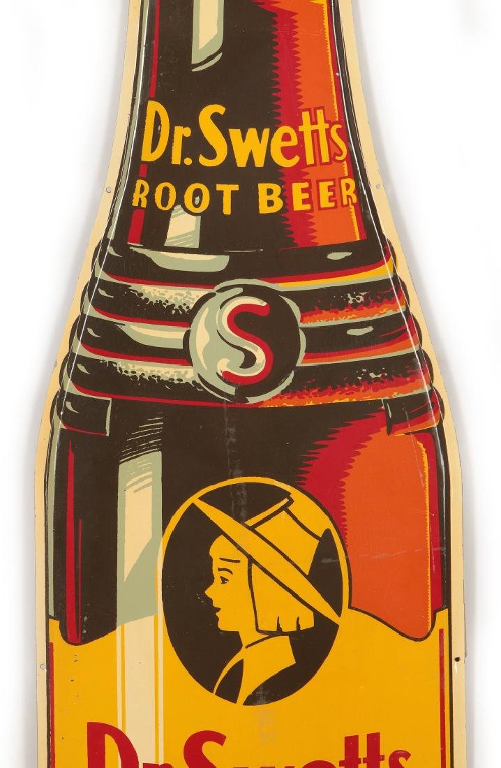 A GOOD DR. SWETTS ROOT BEER DIE CUT BOTTLE SIGN - 3