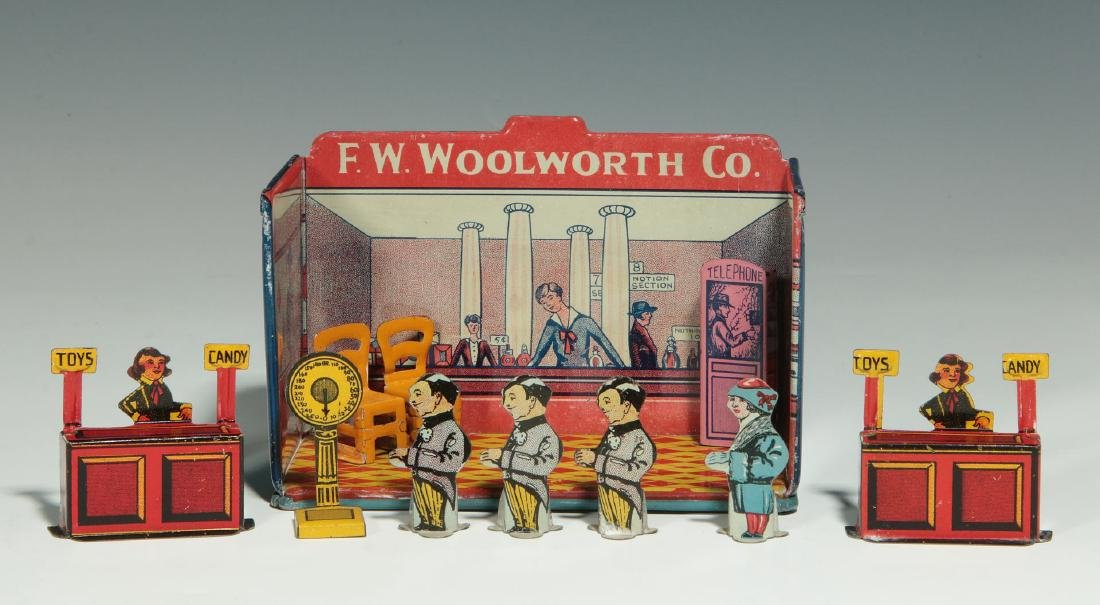 A MINIATURE TIN LITHO F.W. WOOLWORTH CO. STORE