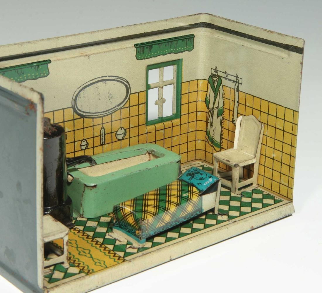AN OROBRE GERMAN TIN LITHO DOLL HOUSE BATHROOM - 5