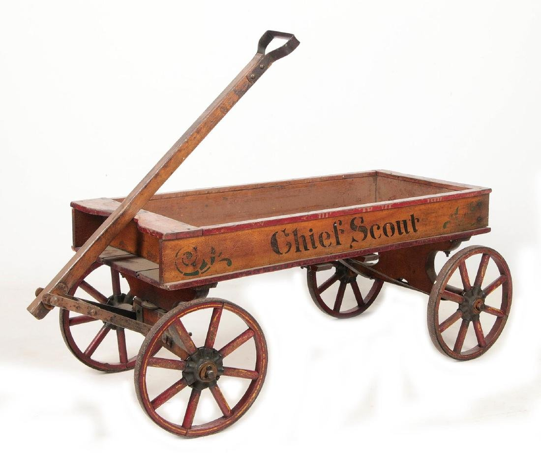 A FINE 'CHIEF SCOUT' WOODEN BOY'S WAGON CIRCA 1900