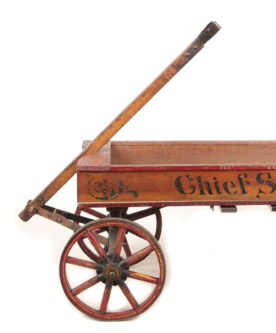 A FINE 'CHIEF SCOUT' WOODEN BOY'S WAGON CIRCA 1900 - 2