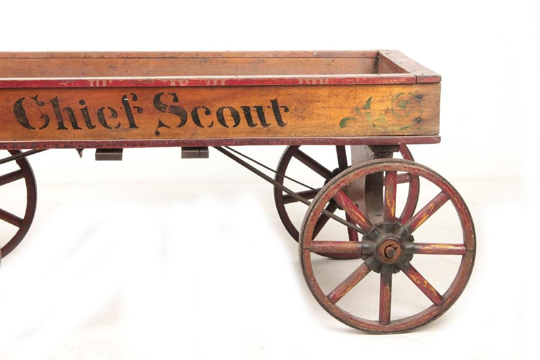 A FINE 'CHIEF SCOUT' WOODEN BOY'S WAGON CIRCA 1900 - 3