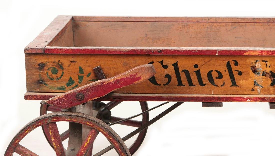 A FINE 'CHIEF SCOUT' WOODEN BOY'S WAGON CIRCA 1900 - 7