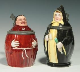 TWO CIRCA 1900 MONK FIGURAL PORCELAIN BEER STEINS
