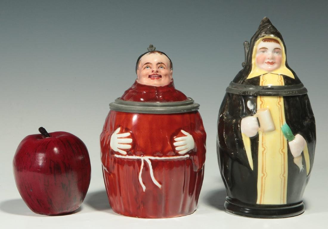 TWO CIRCA 1900 MONK FIGURAL PORCELAIN BEER STEINS - 2