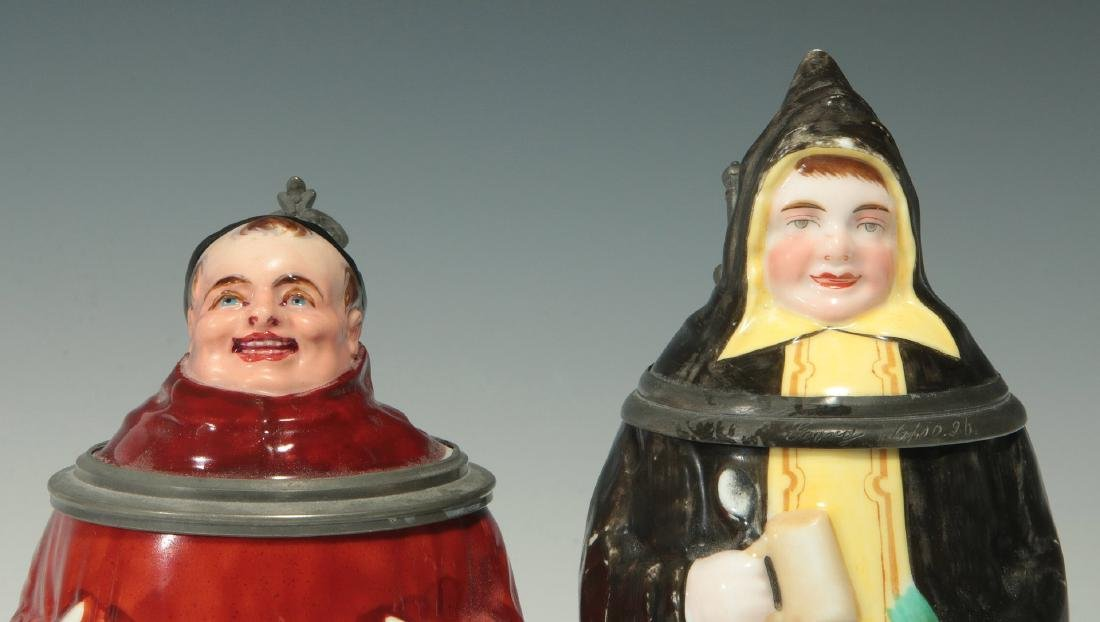 TWO CIRCA 1900 MONK FIGURAL PORCELAIN BEER STEINS - 4