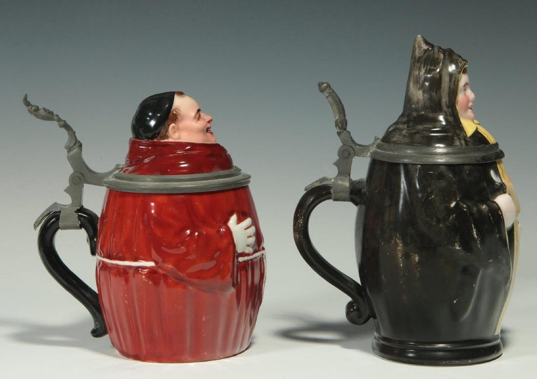 TWO CIRCA 1900 MONK FIGURAL PORCELAIN BEER STEINS - 6