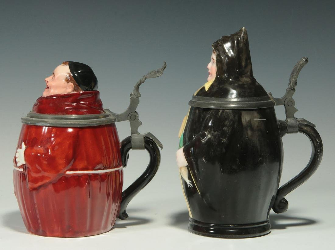 TWO CIRCA 1900 MONK FIGURAL PORCELAIN BEER STEINS - 8
