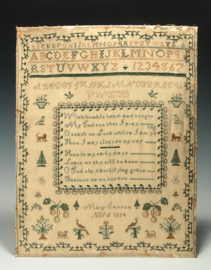 A SCHOOLGIRL CROSS STITCH SAMPLER DATED 1834