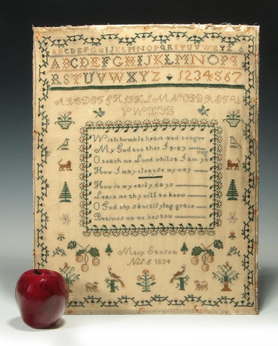 A SCHOOLGIRL CROSS STITCH SAMPLER DATED 1834 - 2