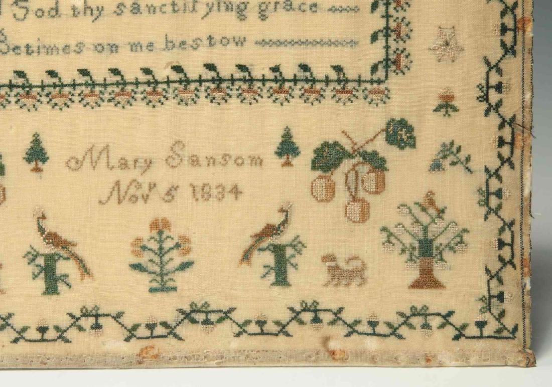A SCHOOLGIRL CROSS STITCH SAMPLER DATED 1834 - 6